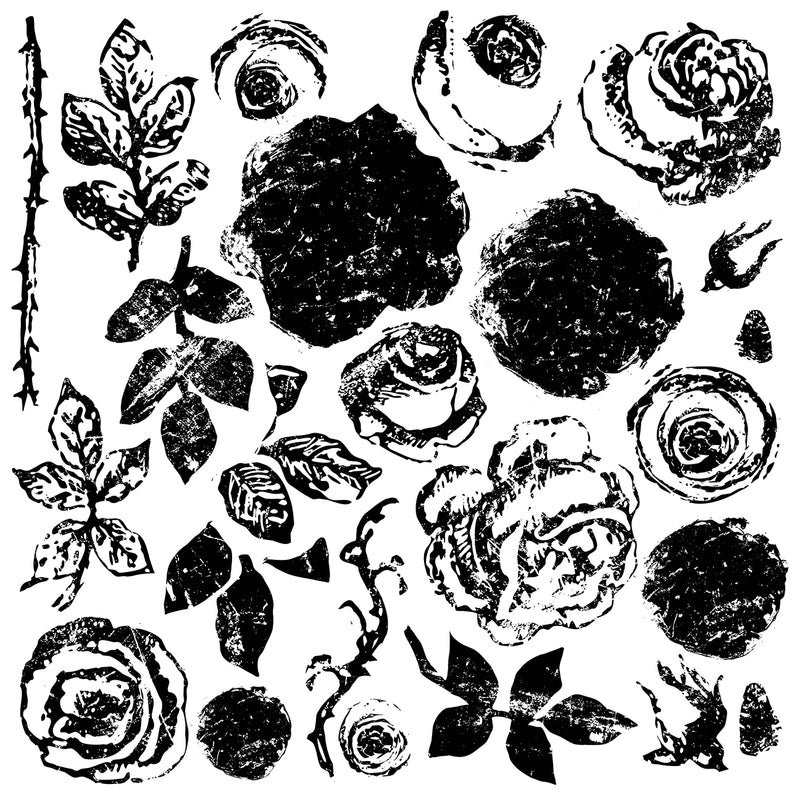 IOD Painterly Roses 12 x 12 Decor Stamp - Pen & Grey