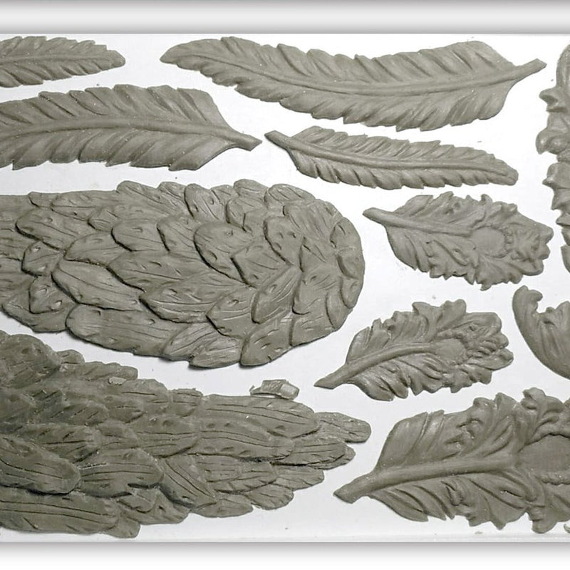 IOD Wings and Feathers 6 x 10 Decor Moulds - Pen & Grey