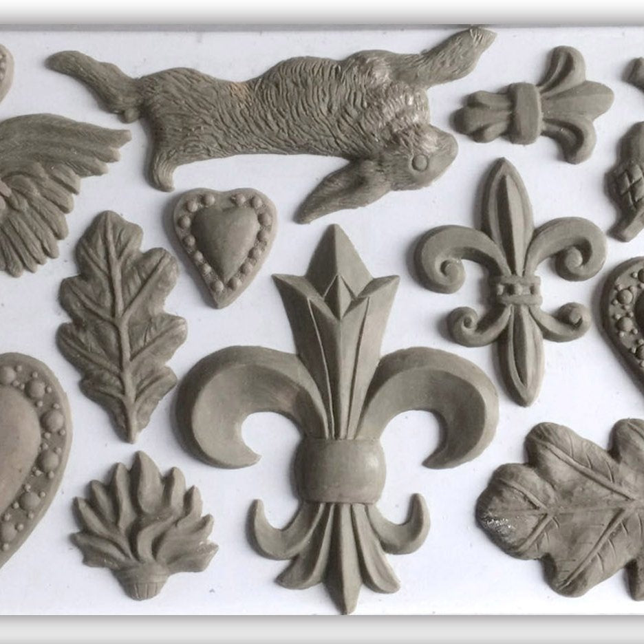 IOD Fleur De Lis 6 x 10 Decor Moulds - Pen & Grey