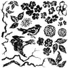IOD Birds Branches Blossoms 12 x 12 Decor Stamp - Pen & Grey