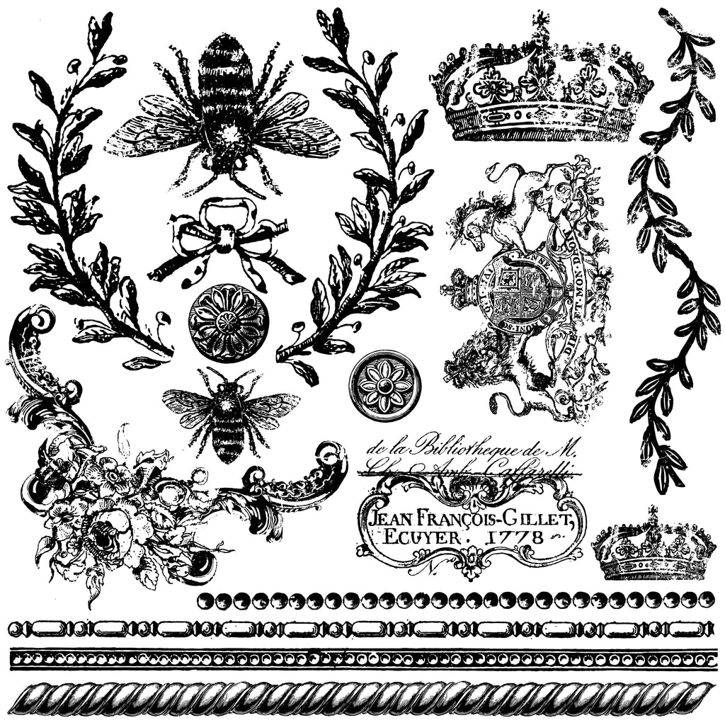 IOD Queen Bee 12 x 12 Decor Stamp - Pen & Grey