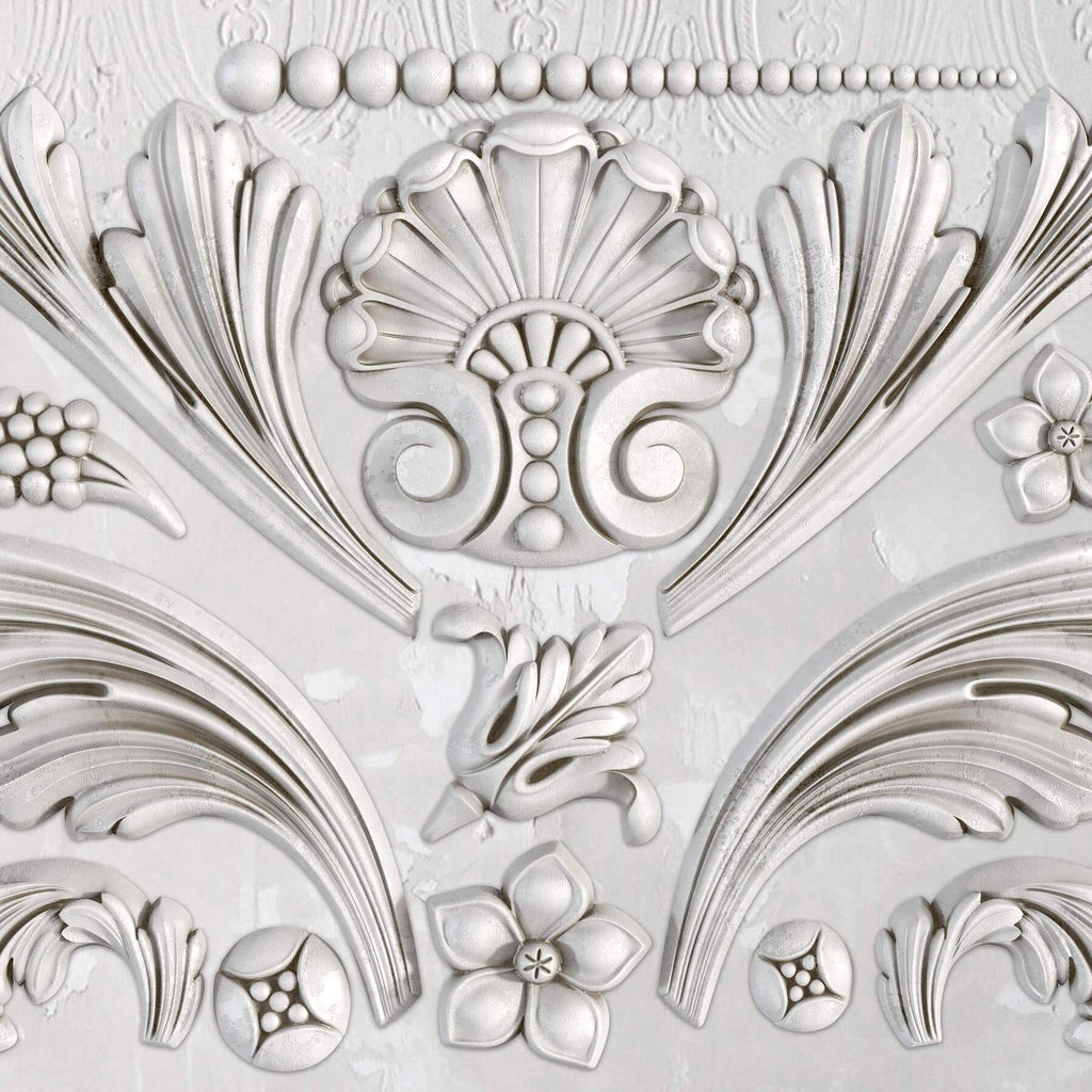 IOD Acanthus Scroll 6 x 10 Decor Moulds - Pen & Grey