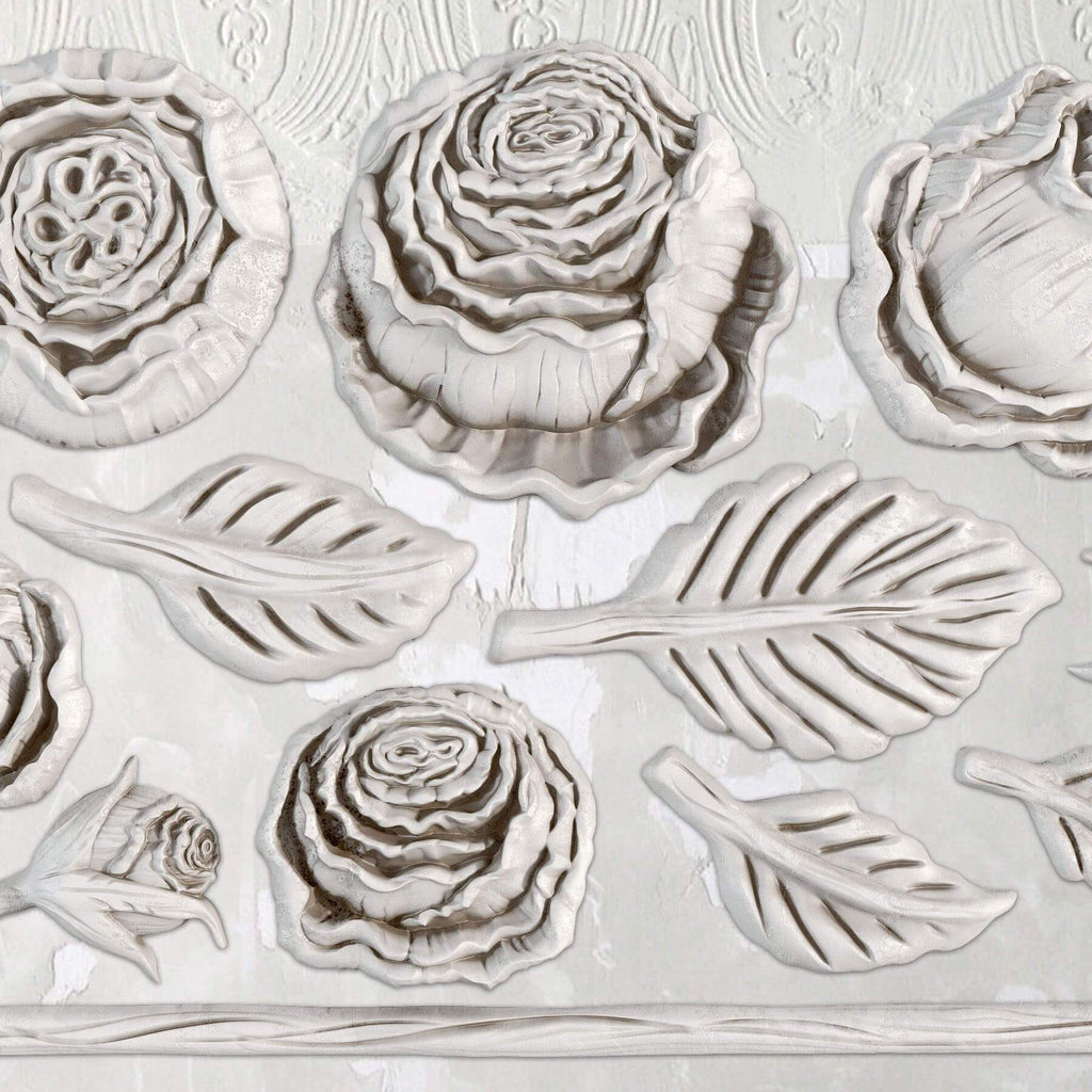 IOD Heirloom Roses 6 x 10 Decor Moulds - Pen & Grey