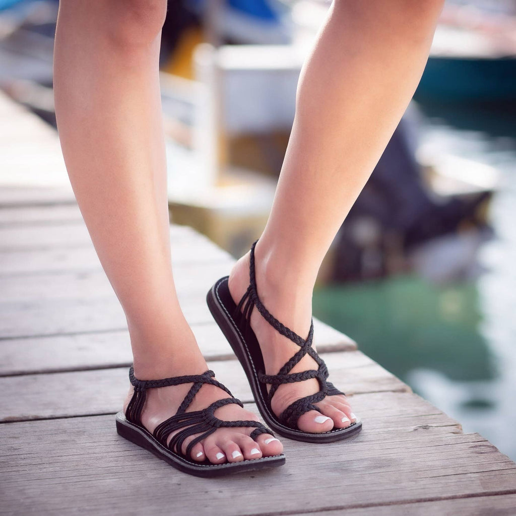 Plaka - Palm Leaf Flat Summer Sandals - Black - Pen & Grey