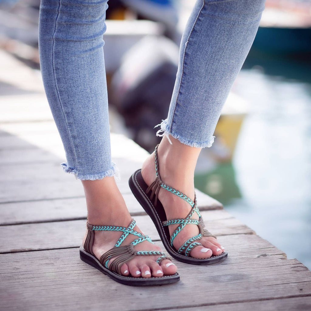 Plaka - Palm Leaf Flat Summer Sandals - Turquoise Gray - Pen & Grey