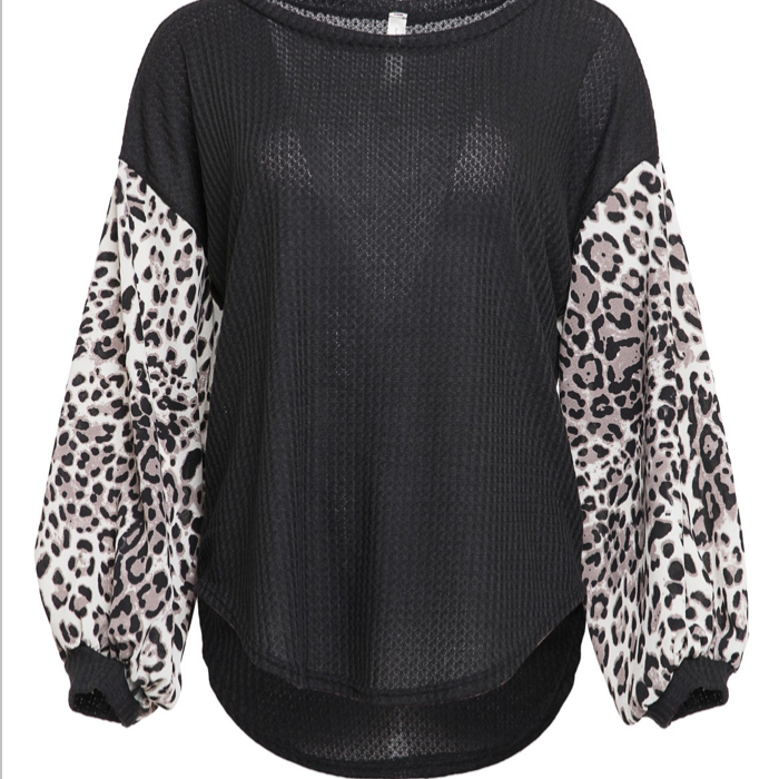 Black with Leopard Sleeves - Pen & Grey