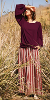 Burgundy Striped Wide Trouser Pant with Pocket