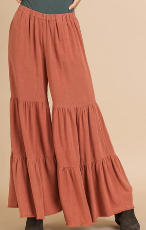 Canyon Clay Wide Leg Ruffle Pants