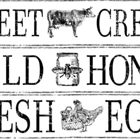 IOD Farm Fresh Signage 14.25 x 24 Decor Transfer - Pen & Grey