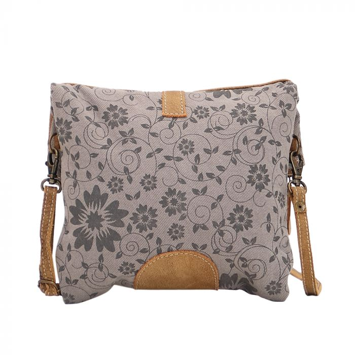 Myra - Teal & Tan Crossbody - Pen & Grey