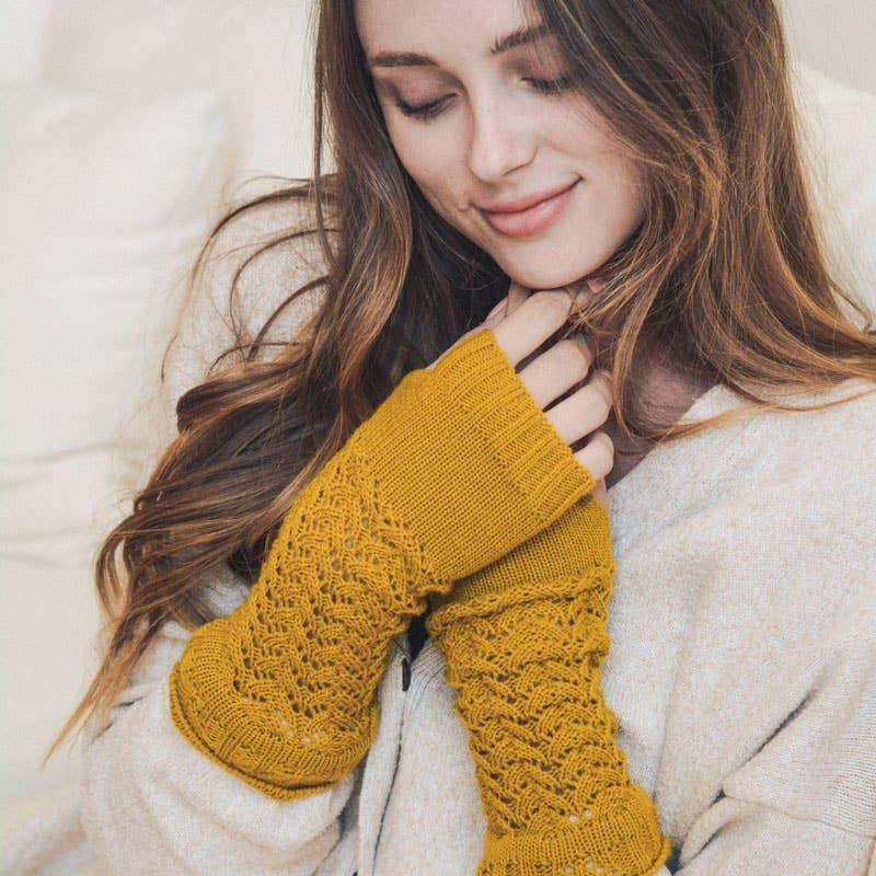 Mustard Knitted Arm Warmers - Pen & Grey
