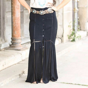 The Lucy Maxi Skirt in Black - Pen & Grey
