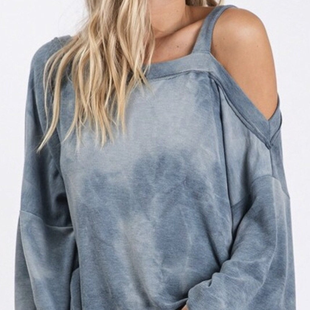 Tie Dye one Shoulder Top - Pen & Grey