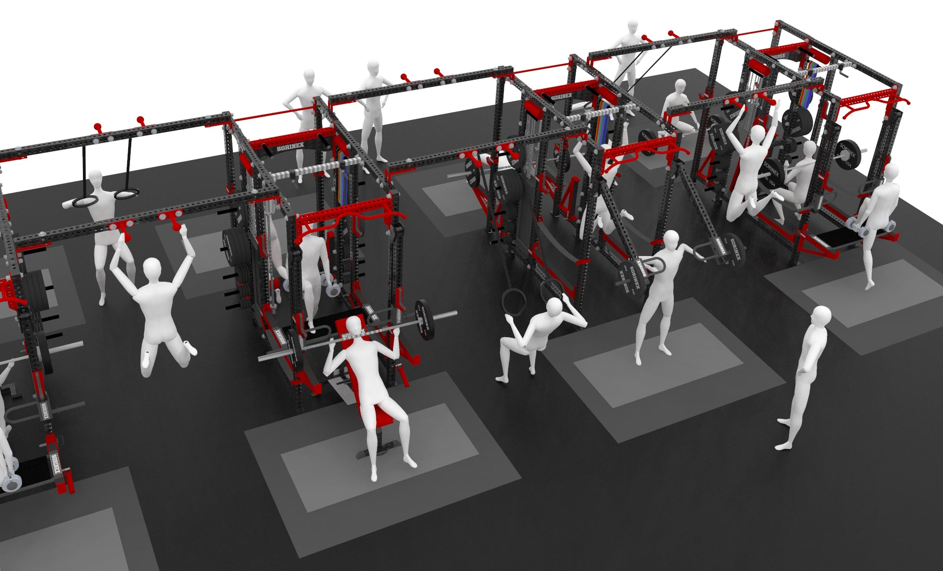 Sorinex weight rooms optimize your space to give you the most training space per square feet
