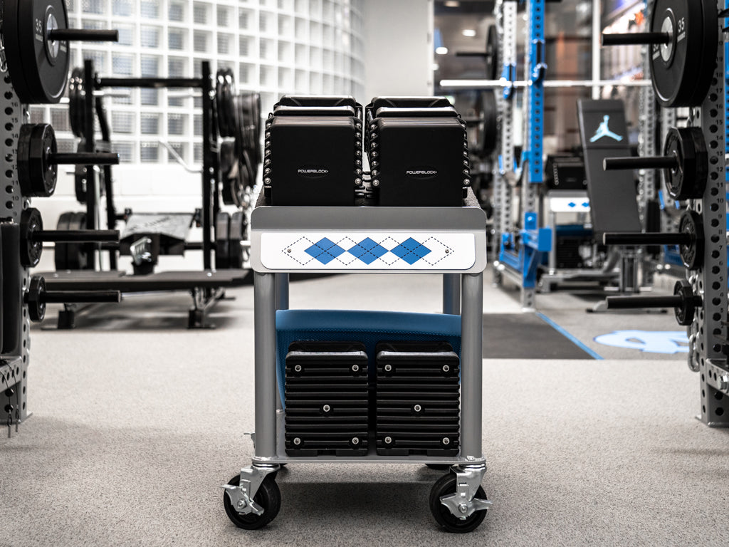 UNC Football Rolling Power Block Cart