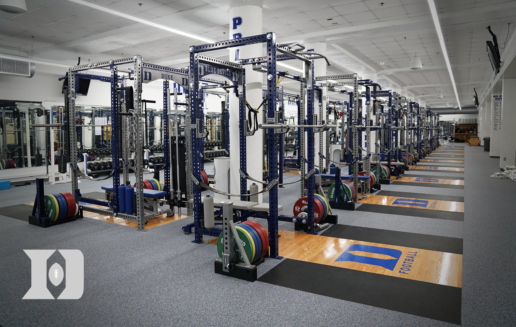 Duke Football Sorinex strength and conditioning facility