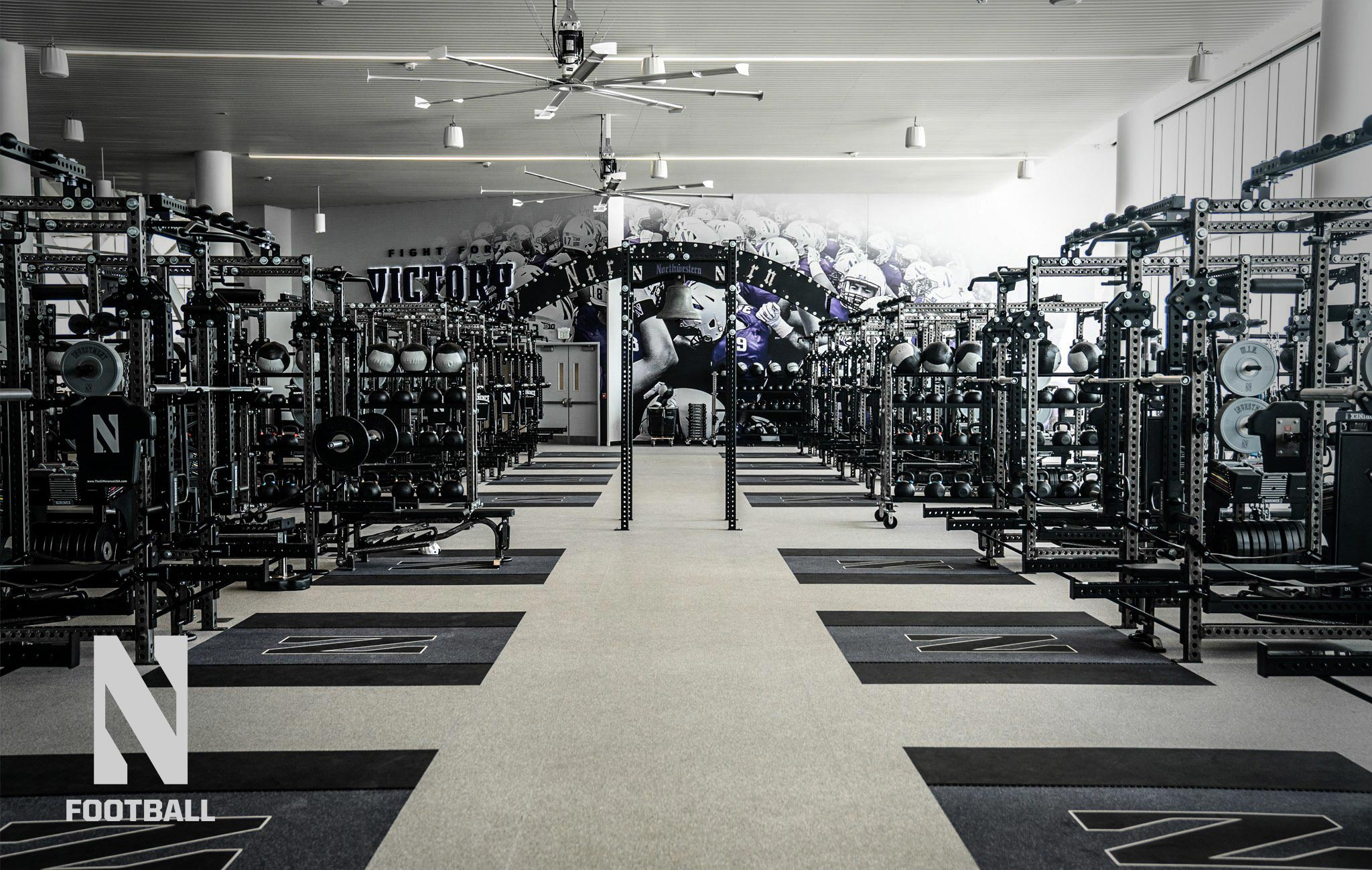 Northwestern University football Sorinex strength and conditioning facility