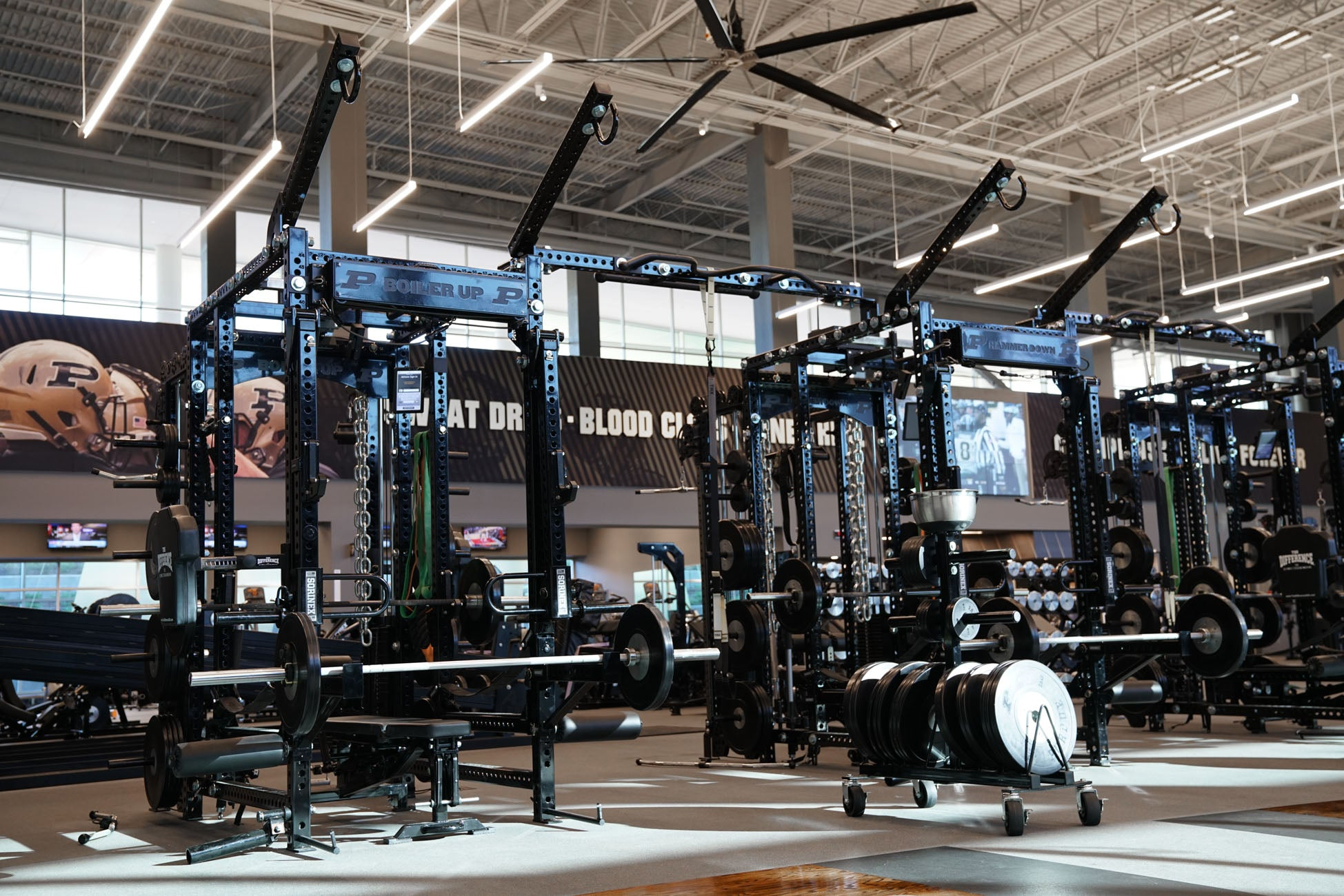 college strength training facility