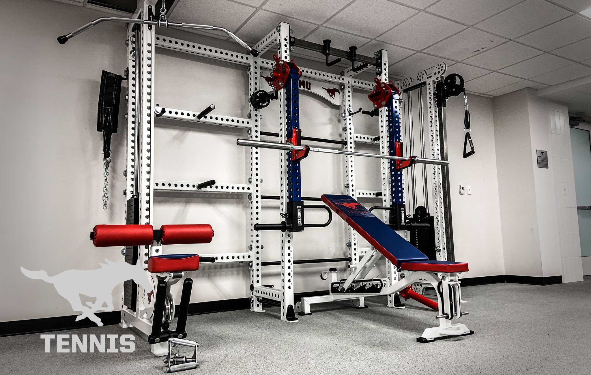 SMU tennis Sorinex strength and conditioning facility
