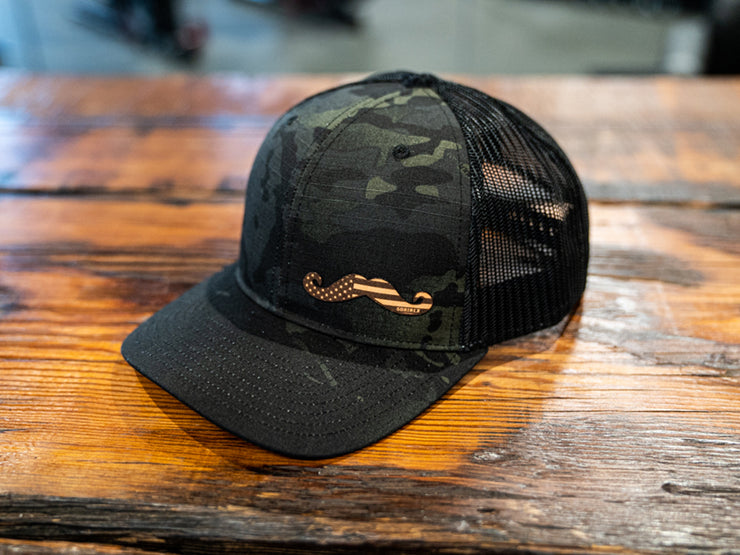 Dark Camo Leather Stache Hat