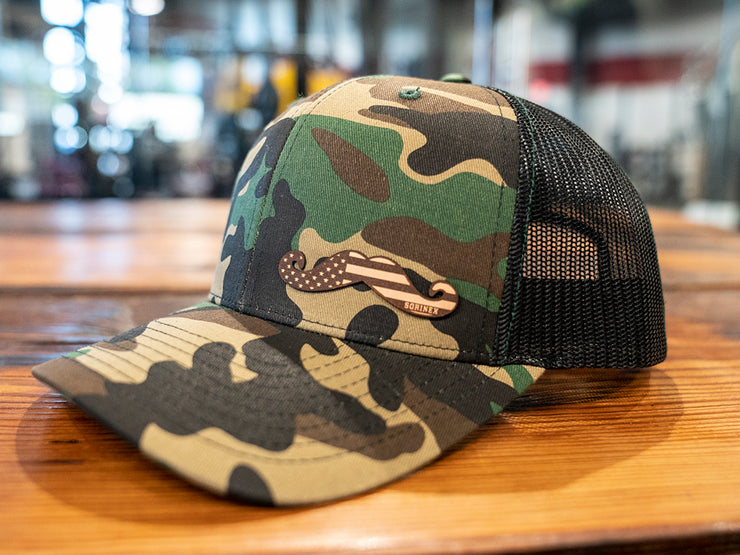 Camo Leather Stache Hat