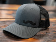Charcoal Leather Stache Hat