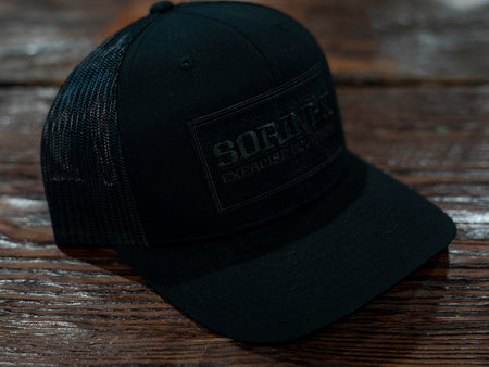 Black / Black Patch Snapback Trucker Hat