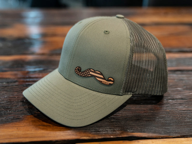 Olive Leather Stache Hat