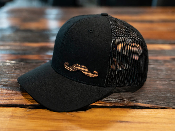 Black Leather Stache Hat