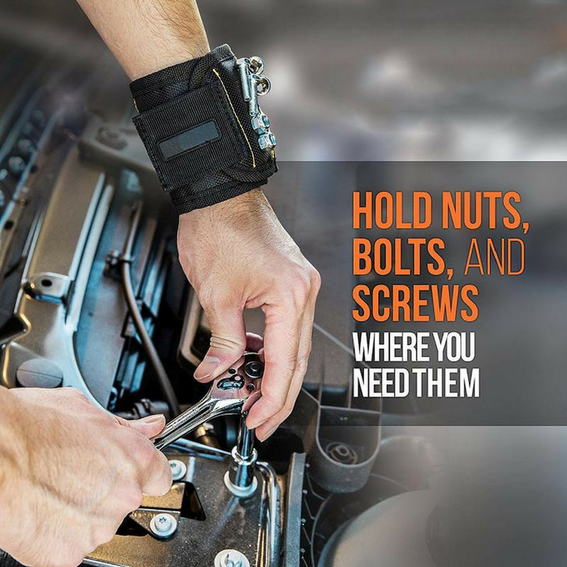 Nuts Screws Nails Washers Bolts Etc. Magnetic Wristband Holds Tools
