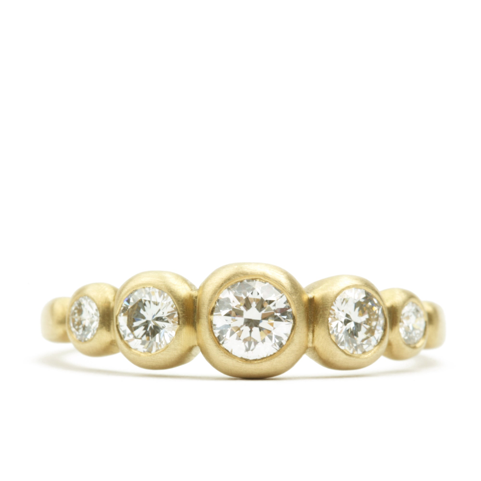 Kima Ring 5 Stone with 1/4 carat diamond center