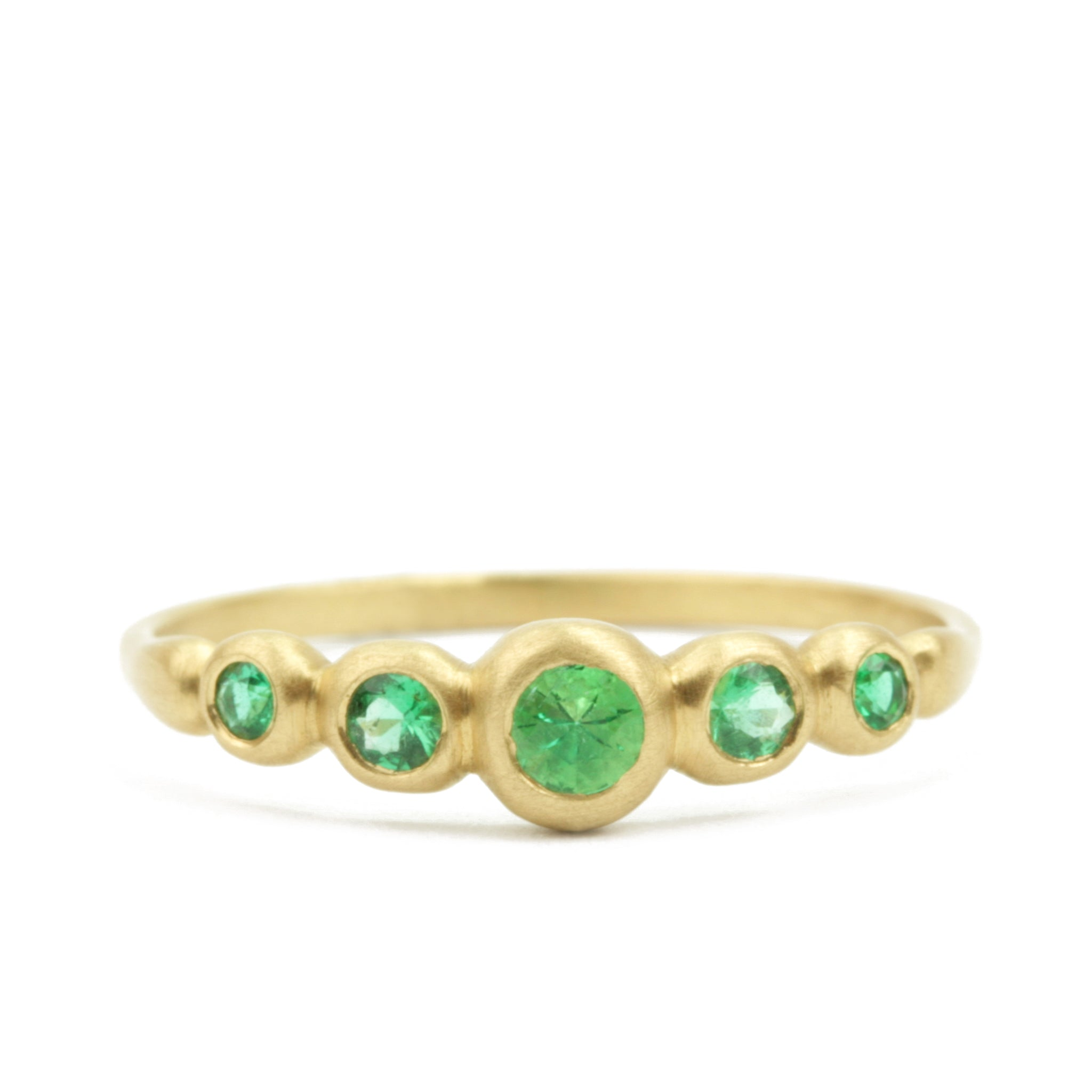 Kima Ring 5 Stone with emeralds