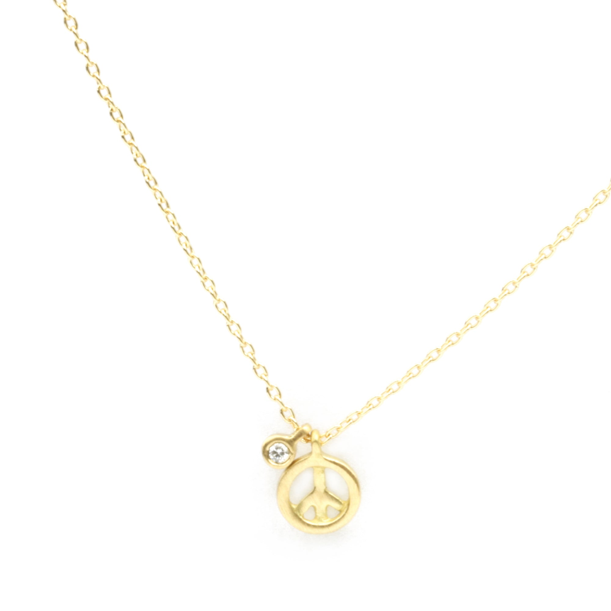 Micro Peace Sign with diamond tag