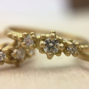 Ariel Ring with 3 mm and two 2 mm diamonds