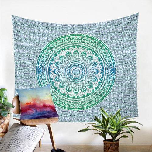 Mandala Wall Tapestry - Green and Blue