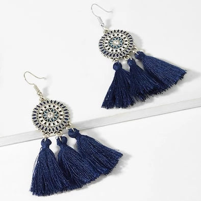 Tassel Earrings with Mandala Design - Navy Blue