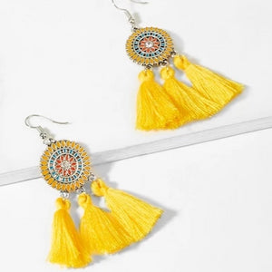 Tassel Earrings with Mandala Design - Sunny Yellow