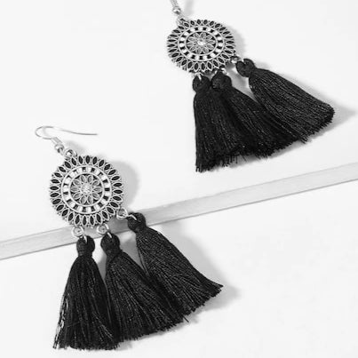 Tassel Earrings with Mandala Design - Mystic Black