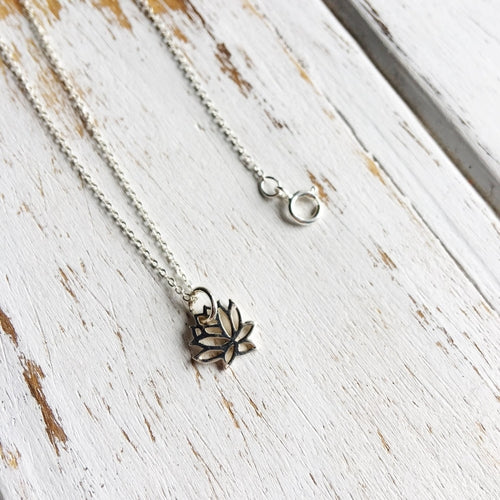 Sterling Silver Lotus Charm Necklace