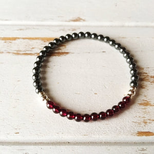 Dainty Garnet & Hematite Bracelet for Grounding