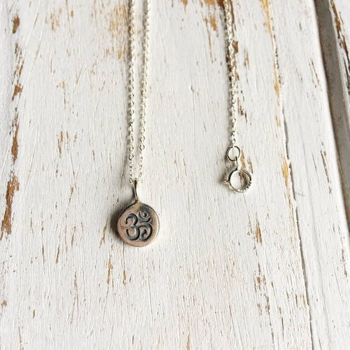 Sterling Silver Stamped Om Charm Necklace