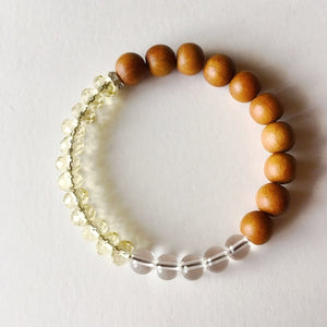Clarity and Intention Bracelet With Citrine, Quartz, and Sandalwood