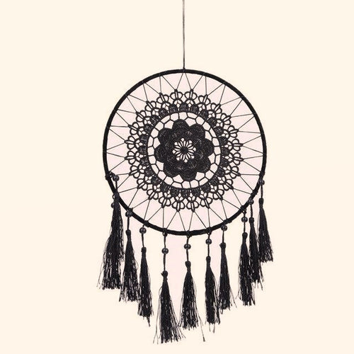 Lace Flower Dream Catcher - Black