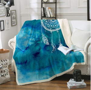 Soft Velvet Plush Throw Blanket - Watercolour Blue