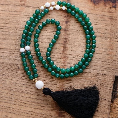 Natural Green Onyx Meditation Necklace