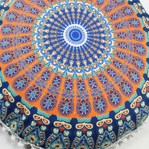 Mandala Floor / Throw Cushion Cover - Blue and Orange