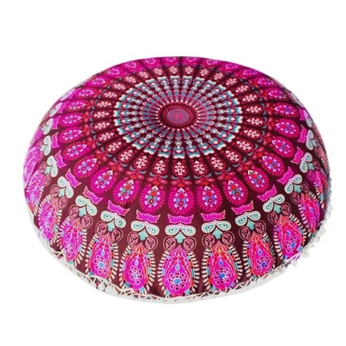 Mandala Floor / Throw Cushion Cover - Fuchsia