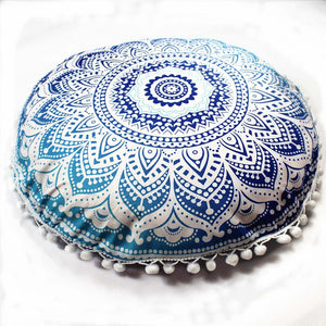 Mandala Floor / Throw Cushion Cover - White and Blue