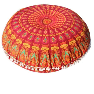 Mandala Floor / Throw Cushion Cover - Orange Brightness