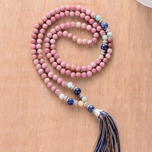 Natural Rhodonite Meditation Necklace